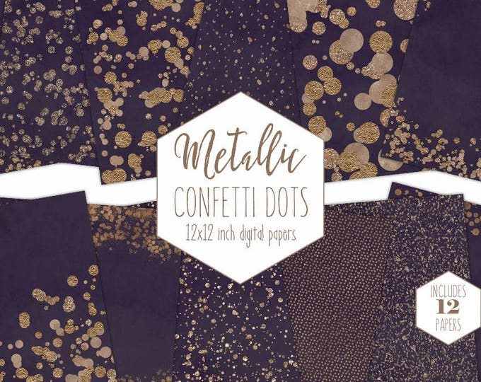 ROSE GOLD FOIL & Purple Digital Paper Pack Confetti Dot Backgrounds Metallic Wedding Scrapbook Paper Patterns Party Printable Commercial Use