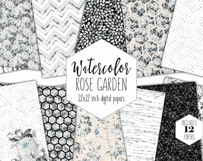 WEDDING FLORAL Digital Paper Pack Commercial Use Black & White Backgrounds Gray Watercolor Flowers Scrapbook Paper Shabby Chic Rose Patterns