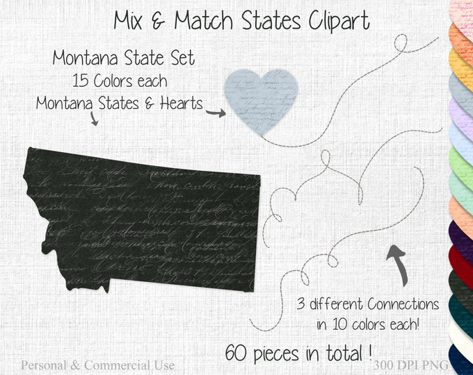 MONTANA STATE to STATE Clipart Commercial Use Clipart Mix & Match State Shapes Wedding Clipart 2 States Montana Map Valentine's Day Clipart