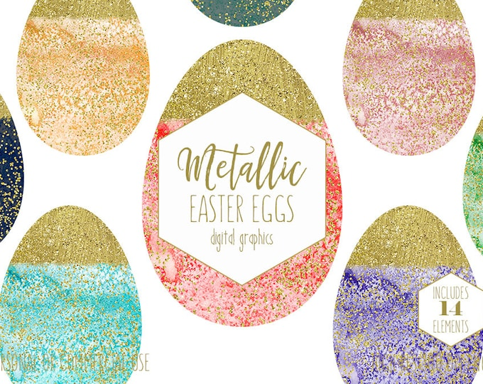 WATERCOLOR EASTER EGG Clipart Pastel Rainbow Eggs Clip Art with Gold Metallic Confetti Planner Sticker Digital Graphics for Commercial Use