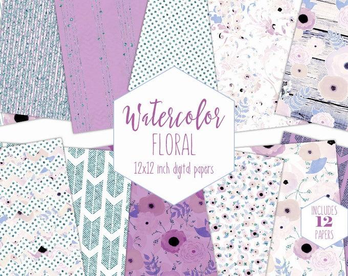 LAVENDER FLORAL WATERCOLOR Digital Paper Pack Commercial Use Stripe Backgrounds Wood Scrapbook Papers Arrow Bohemian Purple Wedding Patterns