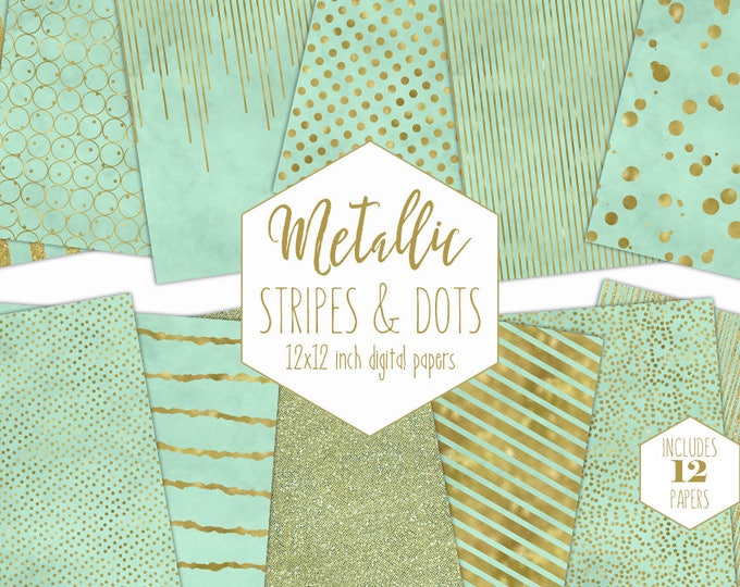 MINT & GOLD FOIL Digital Paper Pack Stripe Backgrounds Metallic Confetti Scrapbook Paper Polka Dot Baby Patterns Party Printable Clipart