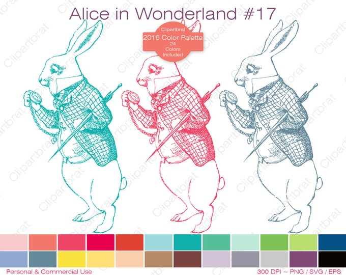 ALICE IN WONDERLAND Clipart Commercial Use Clipart The White Rabbit Late March Hare Graphic 2016 24 Color Palette John Tenniel Vector Svg