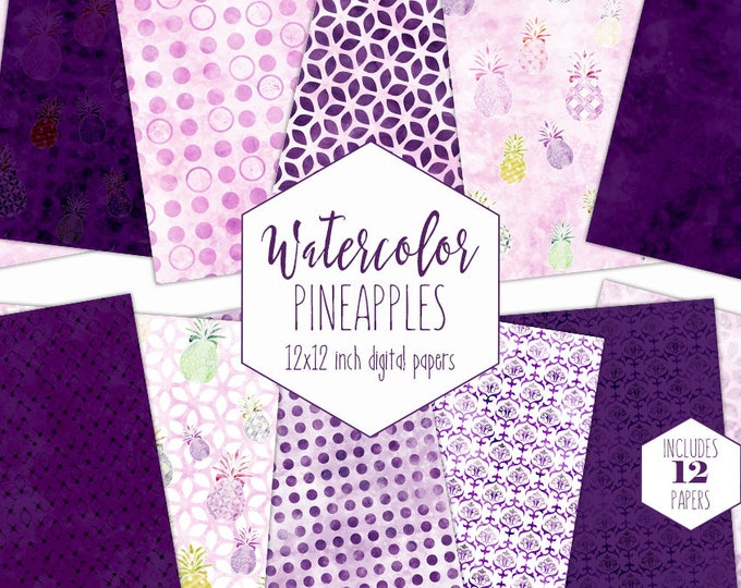 PINK & PURPLE PINEAPPLE Digital Paper Pack Commercial Use Beach Backgrounds Tropical Fruit Scrapbook Papers Geometric Watercolor Patterns