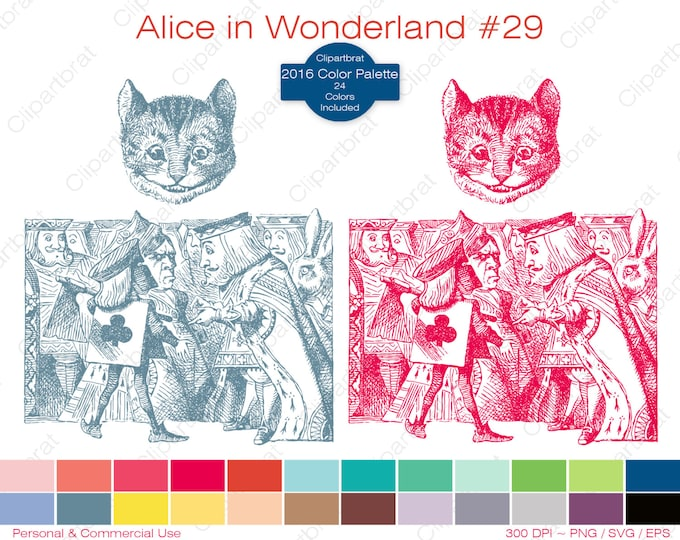 ALICE IN WONDERLAND Clipart Commercial Use Clipart Cheshire Cat Graphic 2016 24 Color Palette John Tenniel Digital Stamp Vector Png Eps Svg