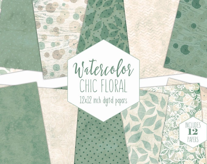 GREEN WATERCOLOR FLOWERS Digital Paper Pack Commercial Use Backgrounds Cream & Sage Scrapbook Papers Shabby Chic Wood Lace Floral Patterns