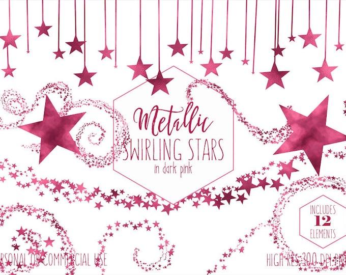BURGUNDY STAR CLIPART for Commercial Use Clip Art for Kids Pink Night Sky Banner Celestial Bunting Frame Baby Girl Shower Digital Graphics