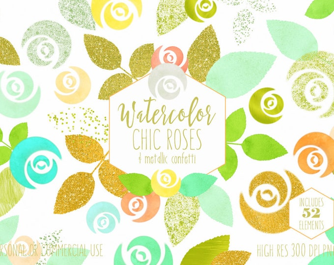 CHIC WATERCOLOR ROSE Clipart Commercial Use Clip Art Watercolour Floral Cute Mint Gold Metallic Confetti Flowers Wedding Invitation Graphics