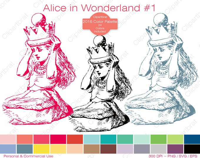 ALICE IN WONDERLAND Clipart Commercial Use Clipart Alice Crown Graphic 2016 24 Color Palette John Tenniel Digital Sticker Vector Png Eps Svg