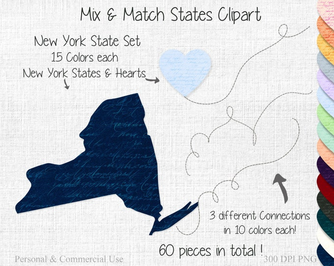 New York STATE to STATE Clipart Commercial Use Clipart Mix & Match Home States Wedding Clipart New York Map State Shapes Valentine's Day