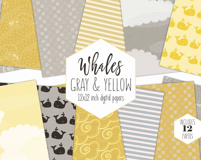 YELLOW & GRAY WHALE Digital Paper Pack baby Boy Backgrounds Nautical Ocean Scrapbook Papers Beach Patterns Birthday Party Printable Clipart