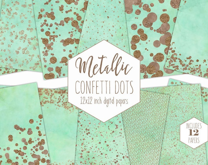 ROSE GOLD FOIL & Mint Digital Paper Pack Confetti Dot Backgrounds Metallic Scrapbook Paper Wedding Patterns Party Printable Commercial Use