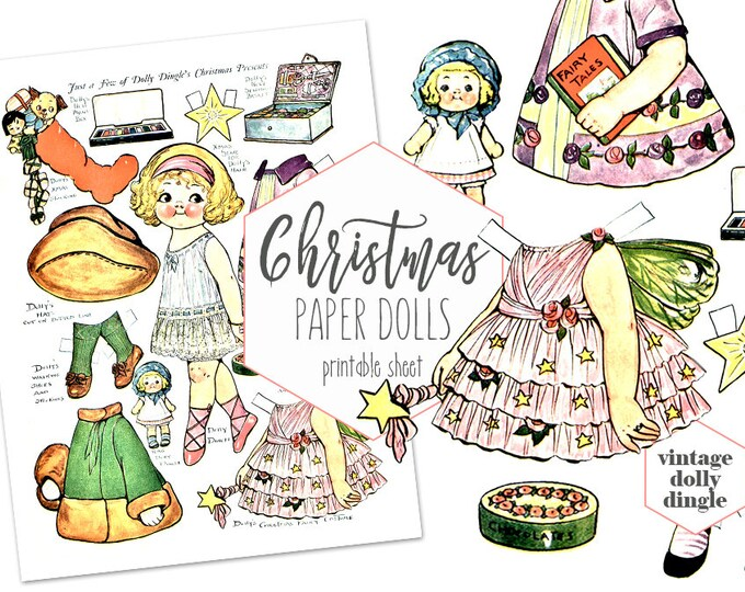 VINTAGE PAPER DOLLS Christmas Printable Collage Sheet Dolly Dingle Holiday Paper Dolls Campbell Soup Kid Grace Drayton Fun Crafts for Kids