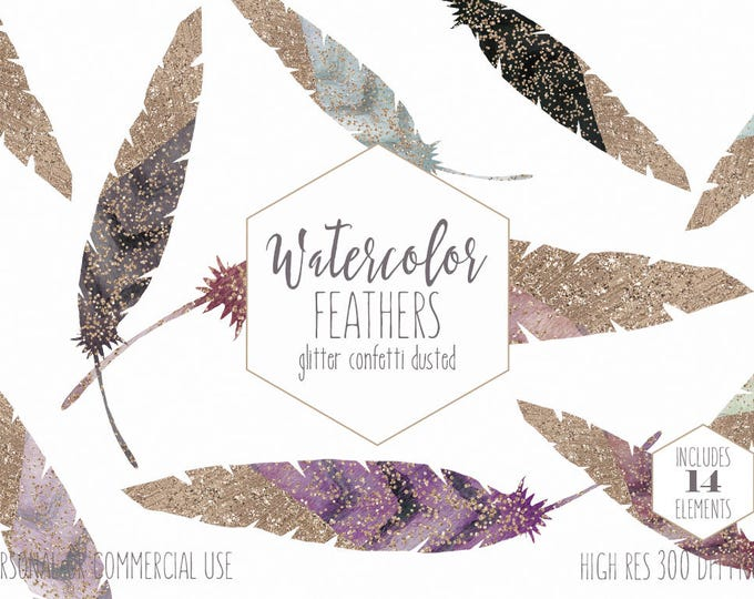 ROSE GOLD FEATHER Clipart Commercial Use Clip Art Watercolor Feather Graphics Rose Gold Metallic Confetti Glitter Dusted Boho Chic Clipart