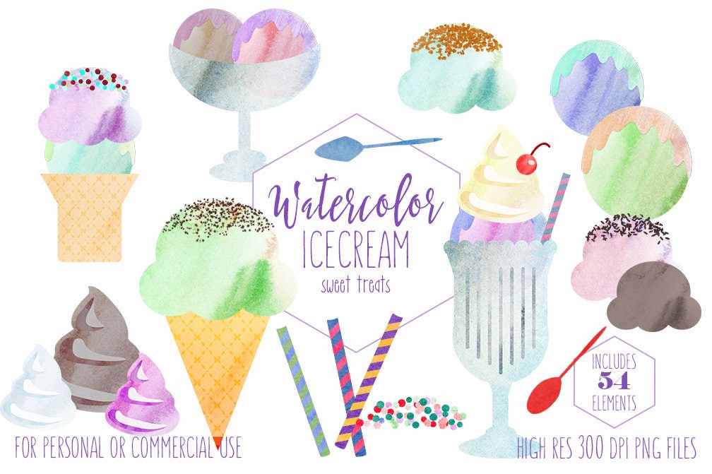 WATERCOLOR ICECREAM Clipart Commercial Use Ice