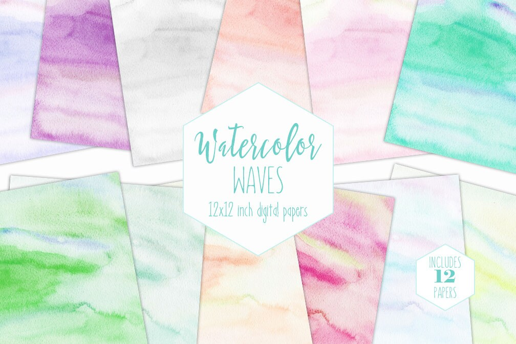 WATERCOLOR DIGITAL PAPER Pack Commercial Use