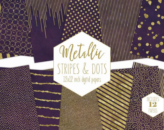 PURPLE & GOLD FOIL Digital Paper Pack Stripe Backgrounds Metallic Confetti Scrapbook Paper Polka Dot Wedding Pattern Party Printable Clipart