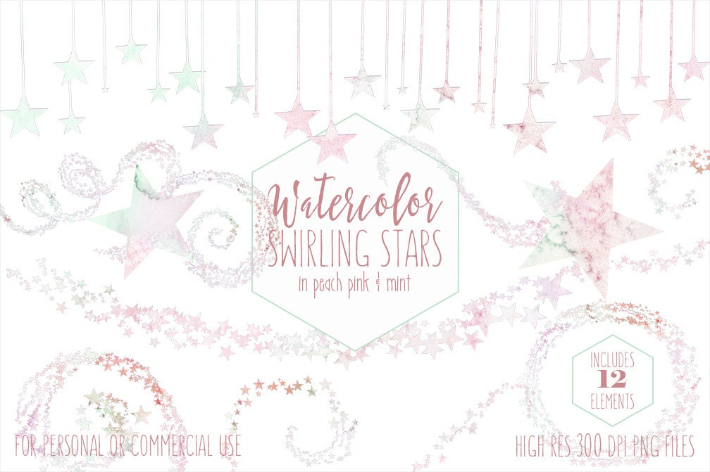 Pastel Rainbow Watercolor Star Clipart Commercial Use Clipart