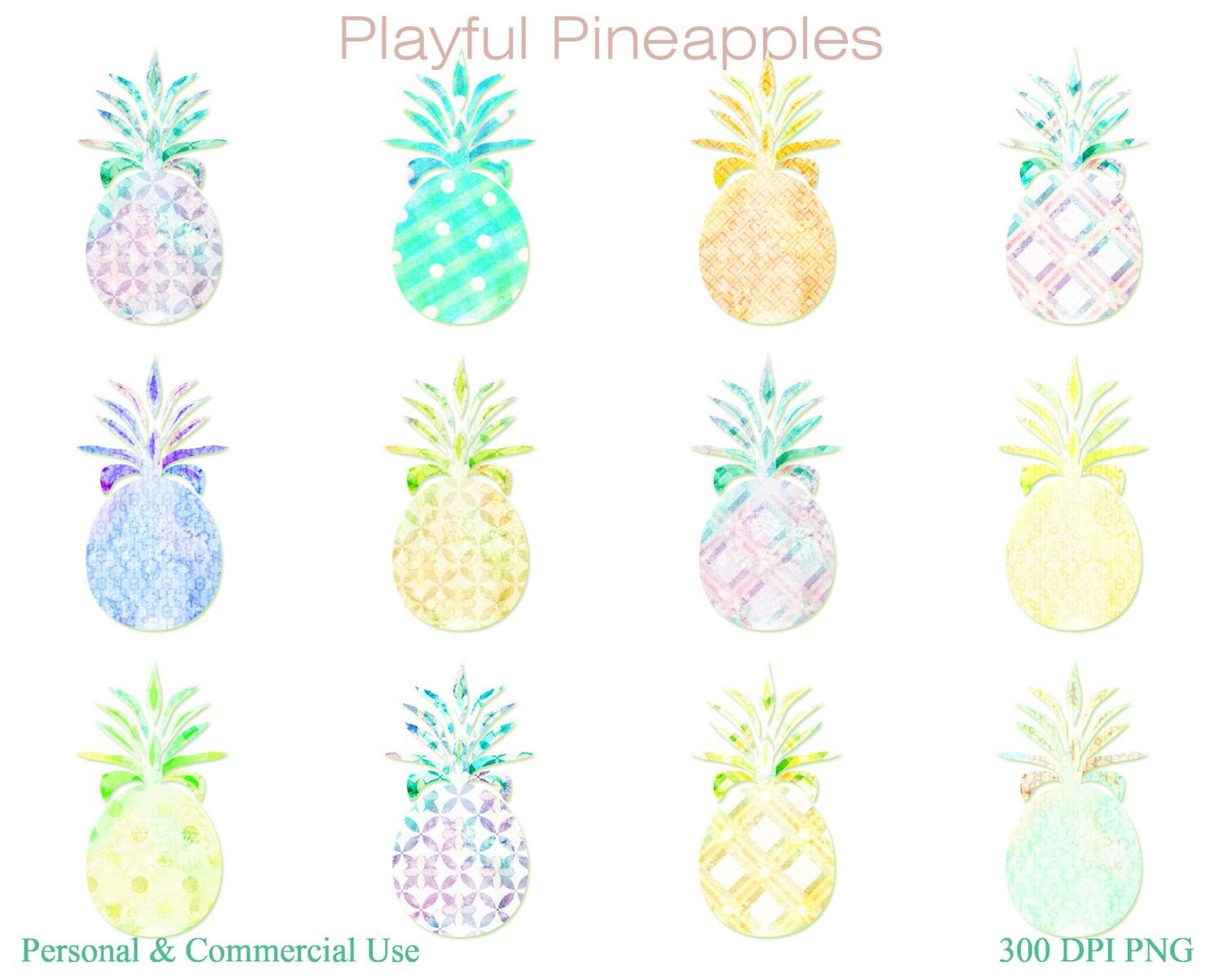 WATERCOLOR PINEAPPLES Clipart Commercial Use Clip Art Fun ...