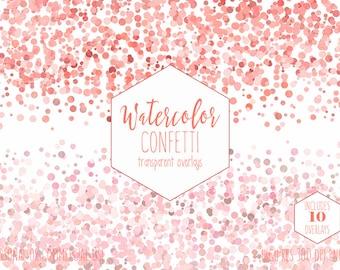 PEACH CONFETTI BORDER Clipart Commercial Use Clip Art 10 Watercolor Confetti Overlays Orange Coral Pink Pumpkin Wedding Invitation Graphics