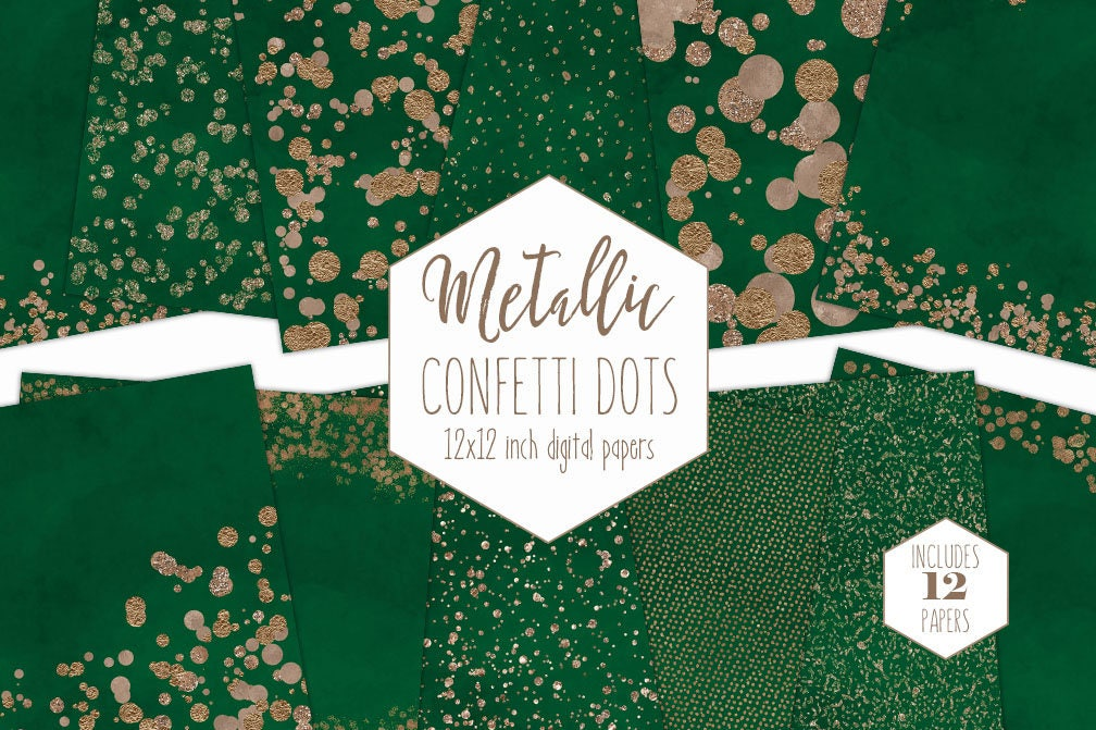 ROSE GOLD FOIL Emerald Green Digital Paper Pack Confetti Dot Background Metallic Scrapbook Holiday Christmas Party Printable Clipart