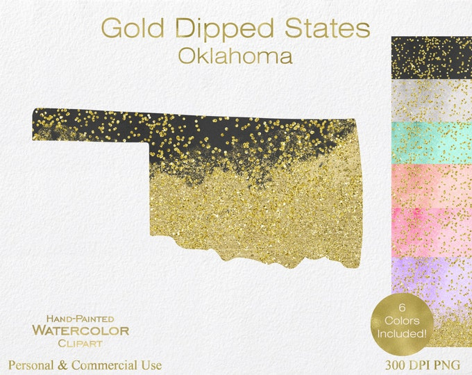 WATERCOLOR & GOLD OKLAHOMA Clipart Commercial Use Clipart United States Shapes Wedding Clipart Gold Confetti Dust Oklahoma Clip Art Graphics
