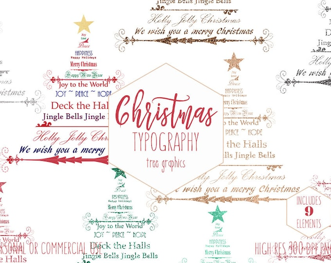 CHRISTMAS TREE TYPOGRAPHY Clipart for Commercial Use Holiday Wordart Quotes Clip Art Metallic Gold Silver Red Invitation Digital Graphics