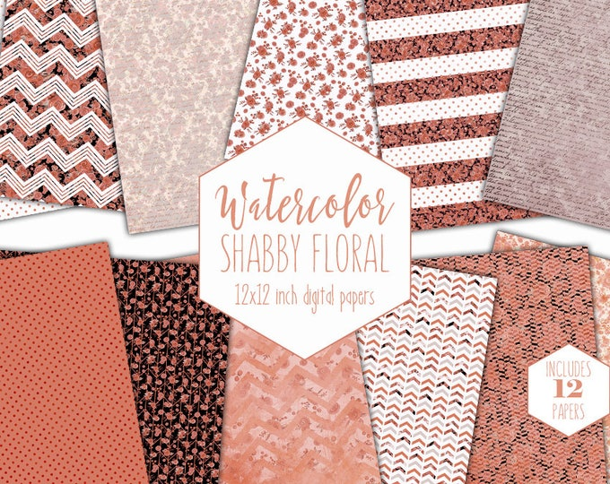 PEACH FLORAL Digital Paper Pack Commercial Use Coral Watercolor Flower Backgrounds Vintage Chic Scrapbook Papers Writing Script Patterns