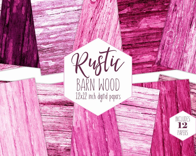 RUSTIC PINK WOOD Digital Paper Pack Barn Wood Backgrounds Wedding Scrapbook Papers Valentine's Day Patterns Wood Grain Printable Clipart
