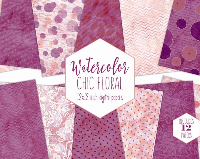 BURGUNDY WATERCOLOR FLORAL Digital Paper Pack Commercial Use Backgrounds Wood Flowers Blush Pink Scrapbook Papers Shabby Chic Lace Patterns