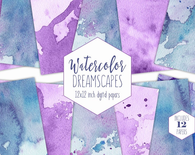 TEAL & PURPLE WATERCOLOR Digital Paper Pack Commercial Use Backgrounds Blue Paint Splatter Scrapbook Papers Real Watercolour Wash Textures