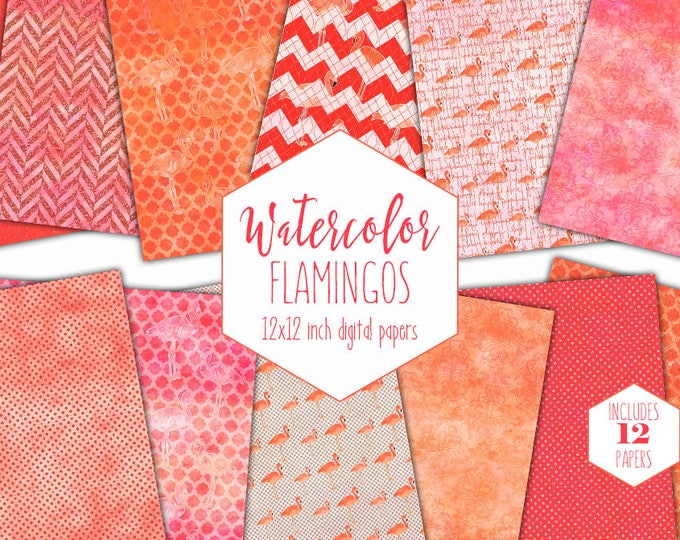 WATERCOLOR PINK FLAMINGO Digital Paper Pack Commercial Use Backgrounds Peach Flamingo Scrapbook Papers Tropical Beach Watercolour Patterns
