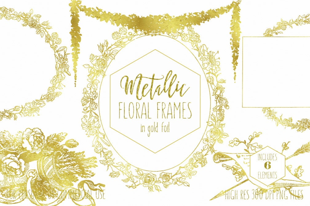 GOLD FOIL FRAME Clipart for Commercial Use Clip Art