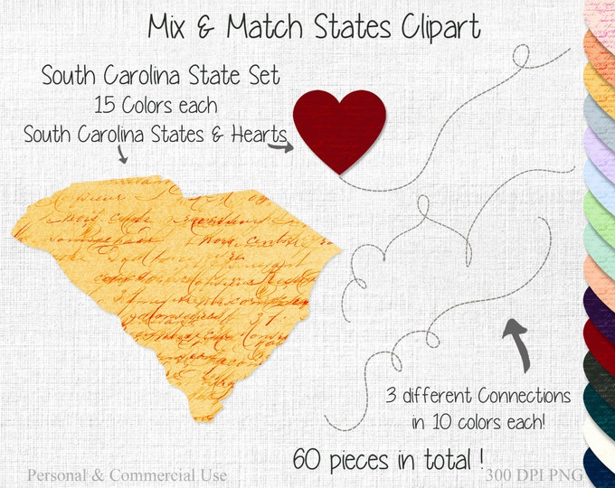 SOUTH CAROLINA STATE to State Clipart Commercial Use Clipart Mix & Match Home State Wedding Clipart Carolina Map United State Shapes Clipart
