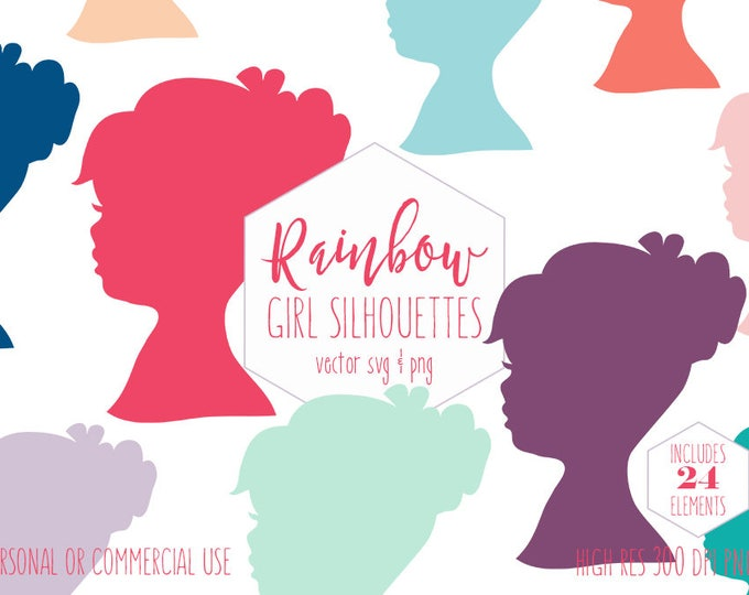GIRL SILHOUETTE CLIPART for Commercial Use Planner Sticker Clip Art Child Face Shape Girls Head Rainbow Colors Vector Digital Graphics Svg