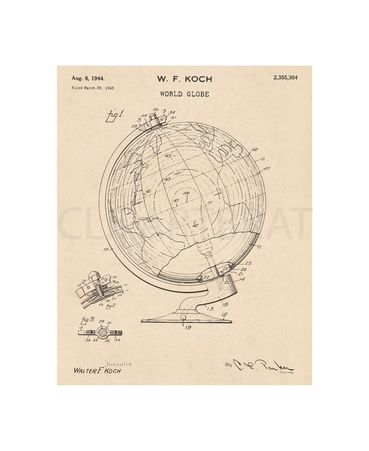 picture relating to Printable World Globe known as 1944 International Entire world Printable Artwork Print Intsant Obtain