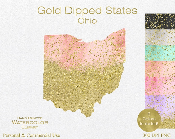 WATERCOLOR & GOLD OHIO Clipart Commercial Use Clipart United States Shapes Wedding Clipart Gold Confetti Dust Ohio Clip Art Graphics