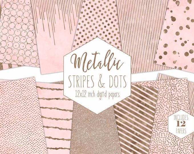 BLUSH & ROSE GOLD Digital Paper Pack Stripe Backgrounds Metallic Foil Confetti Scrapbook Paper Polka Dot baby Girl Patterns Pink Clipart