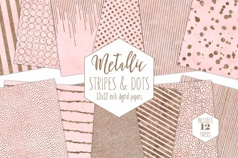 BLUSH /& ROSE GOLD Digital Paper Pack Stripe Backgrounds Metallic Foil Confetti Scrapbook Paper Polka Dot baby Girl Patterns Pink Clipart