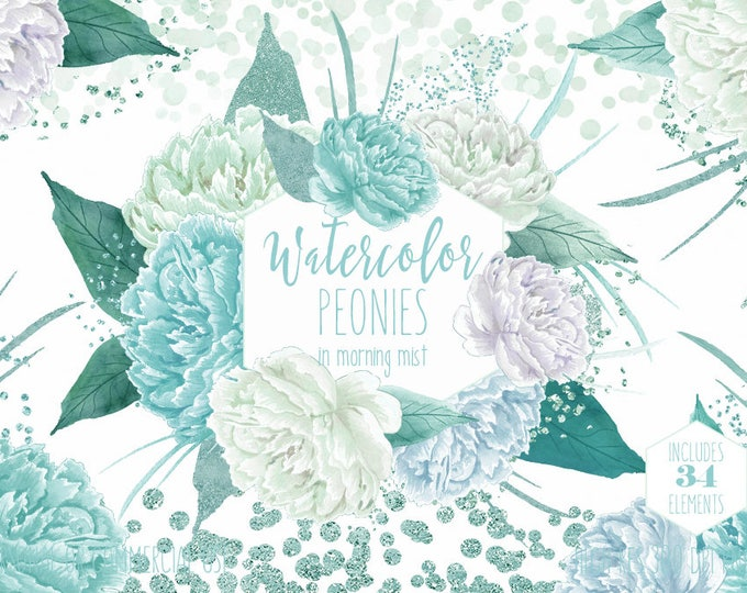 MINT WATERCOLOR FLORAL Clipart Commercial Use Clip Art 34 Watercolour Peonies Peony Flowers Aqua Teal Mint Confetti Floral Wedding Graphics