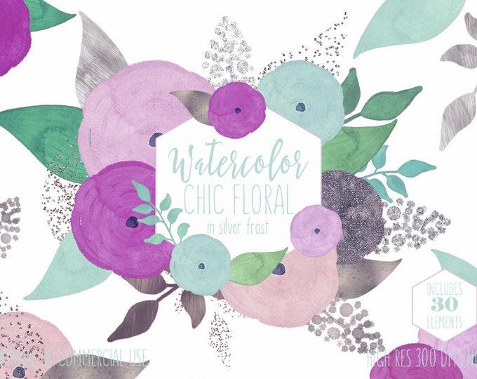 MINT PURPLE WATERCOLOR Floral Clipart Commercial Use Clip Art Watercolour Chic Flowers Silver Metallic Confetti Wedding Invitation Graphics