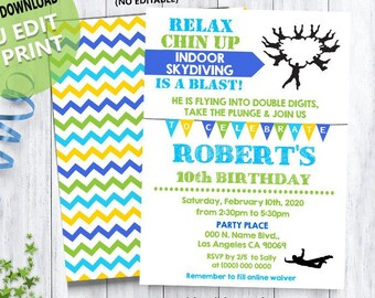 3761bf5ba Skydiving birthday bash invitation indoor skydiving party green blue invite  Instant Download YOU EDIT TEXT & print yourself invite 5817