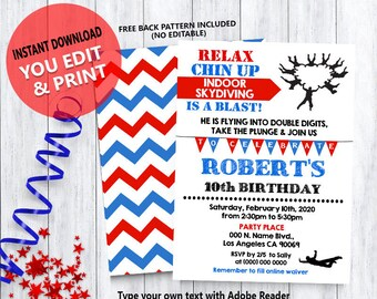 f163b3b81 Skydiving birthday bash invitation indoor skydiving party red white blue  invite Instant Download YOU EDIT TEXT & print yourself invite 5814
