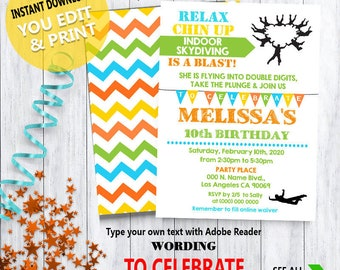 3706ce54d Skydiving birthday bash invitation indoor skydiving party invite Instant  Download YOU EDIT TEXT & print yourself invite 5815