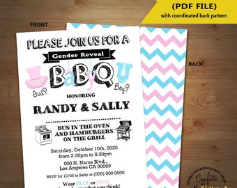 BabyQ gender reveal Baby Shower Party Invitation barbecue Coed shower Baby Q BBQ self editable printable invite instant download 5377