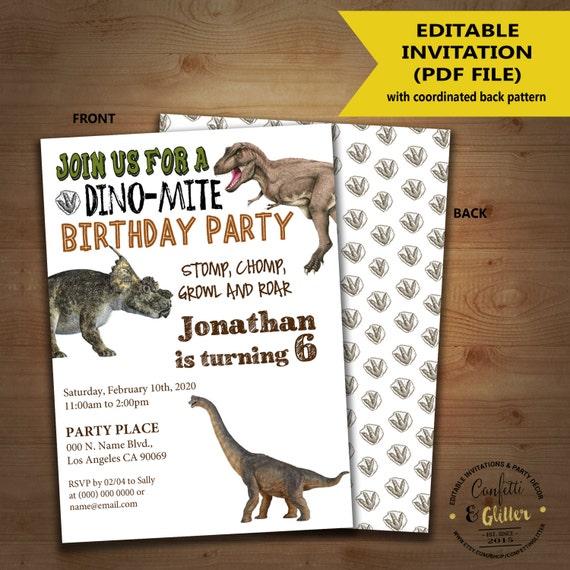 Dinosaur Birthday Invitation Dino Party Invite Instant
