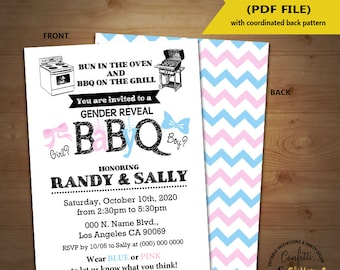 BabyQ gender reveal Baby Shower Party Invitation barbecue Coed shower Baby Q BBQ self editable printable invite instant download 5379