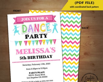 Dance birthday party invitation dancing party invite dance studio Instant Download YOU EDIT TEXT and print yourself invite 5634