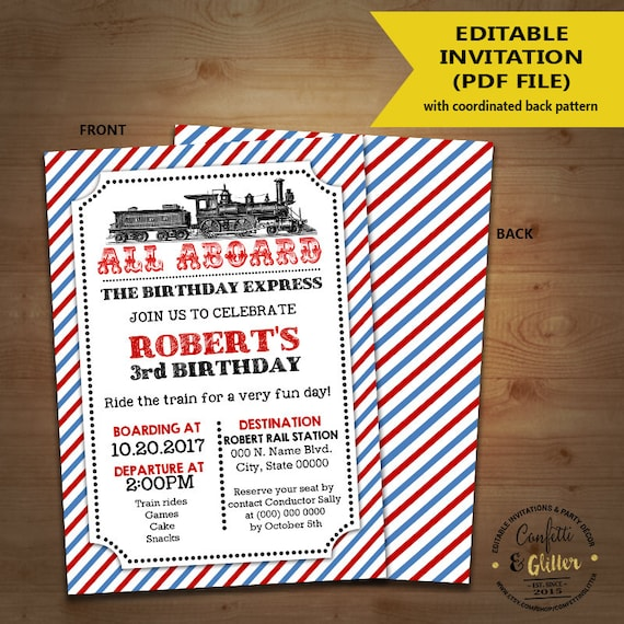 Train Birthday Invitation Vintage Invite All Aboard