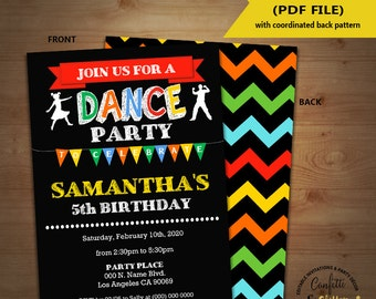 Dance birthday party invitation dancing party invite dance studio chalkboard Instant Download YOU EDIT TEXT and print yourself invite 5633